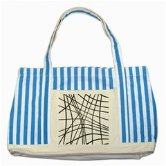 Black and white decorative lines Striped Blue Tote Bag