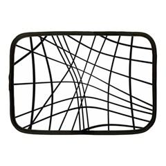 Black And White Decorative Lines Netbook Case (medium)  by Valentinaart