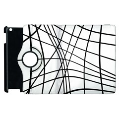 Black And White Decorative Lines Apple Ipad 3/4 Flip 360 Case by Valentinaart