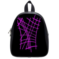 Neon Purple Abstraction School Bags (small)  by Valentinaart