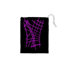 Neon purple abstraction Drawstring Pouches (XS)  by Valentinaart
