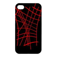 Neon Red Abstraction Apple Iphone 4/4s Premium Hardshell Case by Valentinaart