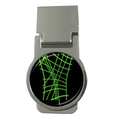 Green neon abstraction Money Clips (Round)  by Valentinaart