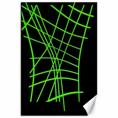 Green neon abstraction Canvas 24  x 36  by Valentinaart