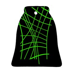 Green Neon Abstraction Bell Ornament (2 Sides) by Valentinaart