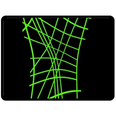 Green neon abstraction Double Sided Fleece Blanket (Large)