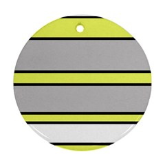 Yellow And Gray Lines Round Ornament (two Sides)  by Valentinaart