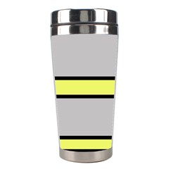 Yellow And Gray Lines Stainless Steel Travel Tumblers by Valentinaart