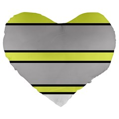 Yellow And Gray Lines Large 19  Premium Flano Heart Shape Cushions by Valentinaart