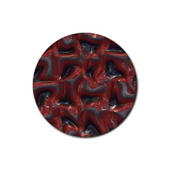 Red Grey 3d Design                                                                                    			rubber Round Coaster (4 Pack) by LalyLauraFLM