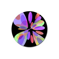 Colorful Abstract Flower Magnet 3  (round) by Valentinaart