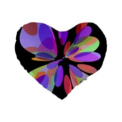 Colorful Abstract Flower Standard 16  Premium Flano Heart Shape Cushions by Valentinaart