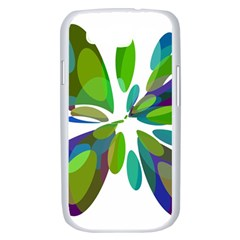 Green abstract flower Samsung Galaxy S III Case (White)