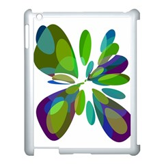 Green Abstract Flower Apple Ipad 3/4 Case (white) by Valentinaart