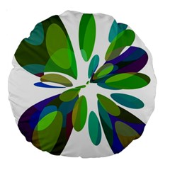 Green Abstract Flower Large 18  Premium Round Cushions by Valentinaart