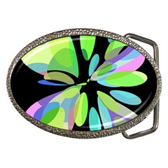 Green abstract flower Belt Buckles by Valentinaart
