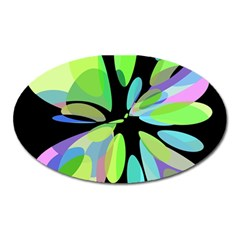 Green Abstract Flower Oval Magnet by Valentinaart