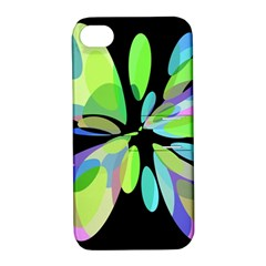 Green Abstract Flower Apple Iphone 4/4s Hardshell Case With Stand by Valentinaart