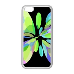 Green Abstract Flower Apple Iphone 5c Seamless Case (white) by Valentinaart