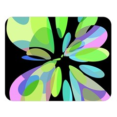 Green Abstract Flower Double Sided Flano Blanket (large)  by Valentinaart