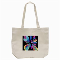 Blue Abstract Flower Tote Bag (cream) by Valentinaart