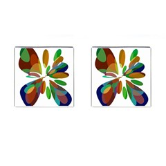 Colorful Abstract Flower Cufflinks (square) by Valentinaart