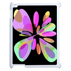 Pink Abstract Flower Apple Ipad 2 Case (white) by Valentinaart
