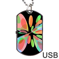 Colorful abstract flower Dog Tag USB Flash (One Side) by Valentinaart
