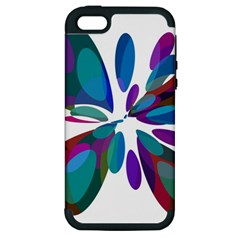 Blue Abstract Flower Apple Iphone 5 Hardshell Case (pc+silicone) by Valentinaart