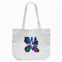 Blue Abstract Flower Tote Bag (white) by Valentinaart