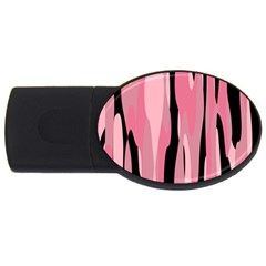 Black And Pink Camo Abstract Usb Flash Drive Oval (2 Gb)  by TRENDYcouture