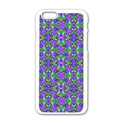 Pretty Purple Flowers Pattern Apple iPhone 6/6S White Enamel Case by BrightVibesDesign