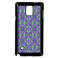 Pretty Purple Flowers Pattern Samsung Galaxy Note 4 Case (black) by BrightVibesDesign