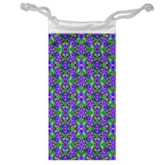 Pretty Purple Flowers Pattern Jewelry Bags by BrightVibesDesign