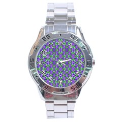 Pretty Purple Flowers Pattern Stainless Steel Analogue Watch by BrightVibesDesign