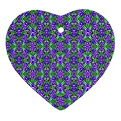 Pretty Purple Flowers Pattern Ornament (heart)  by BrightVibesDesign