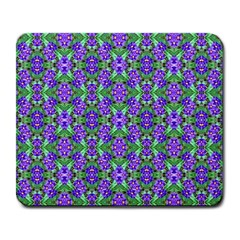 Pretty Purple Flowers Pattern Large Mousepads by BrightVibesDesign