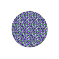 Pretty Purple Flowers Pattern Magnet 3  (round) by BrightVibesDesign
