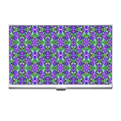 Pretty Purple Flowers Pattern Business Card Holders by BrightVibesDesign