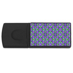Pretty Purple Flowers Pattern USB Flash Drive Rectangular (4 GB)  by BrightVibesDesign