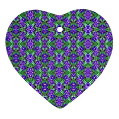 Pretty Purple Flowers Pattern Heart Ornament (2 Sides) by BrightVibesDesign