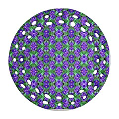 Pretty Purple Flowers Pattern Round Filigree Ornament (2side) by BrightVibesDesign