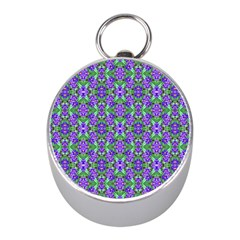 Pretty Purple Flowers Pattern Mini Silver Compasses by BrightVibesDesign