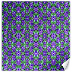 Pretty Purple Flowers Pattern Canvas 16  X 16   by BrightVibesDesign