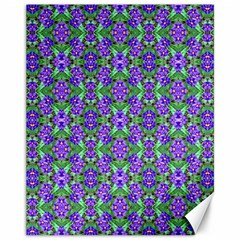 Pretty Purple Flowers Pattern Canvas 11  x 14   by BrightVibesDesign