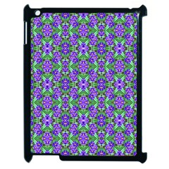 Pretty Purple Flowers Pattern Apple Ipad 2 Case (black) by BrightVibesDesign