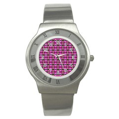 Pretty Pink Flower Pattern Stainless Steel Watch by BrightVibesDesign