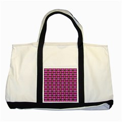 Pretty Pink Flower Pattern Two Tone Tote Bag by BrightVibesDesign