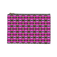 Pretty Pink Flower Pattern Cosmetic Bag (large)  by BrightVibesDesign