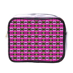 Pretty Pink Flower Pattern Mini Toiletries Bags by BrightVibesDesign